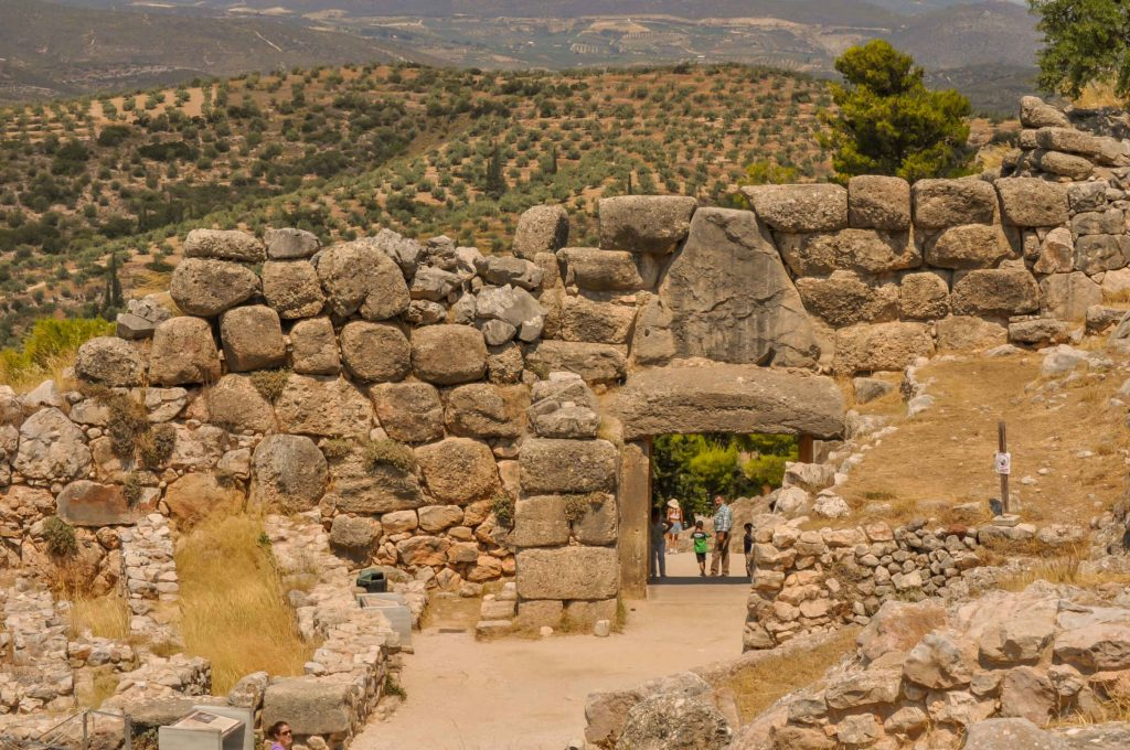 Lions Gate Greece where the Mycenaeans entered the Citadel of Mycenae in Argolis Peloponnese Greece.