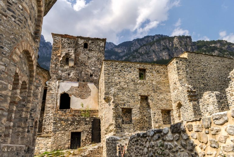 Hiking in Greece on Mount Olympus to the old monastery of Saint Dionysios