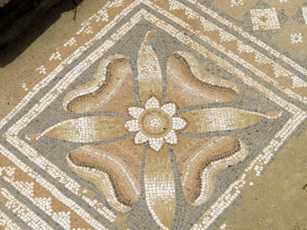mosaic floor in roman bath houses in the Greek park of Dion.
