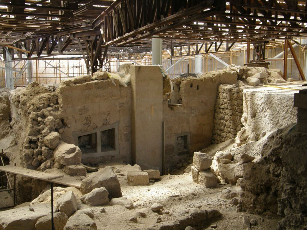 The Akrotiri Excavations with ancient houses.