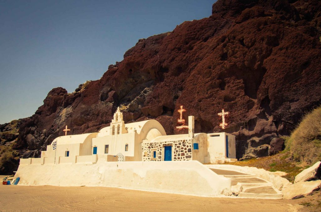 A chapel near the Akrotiri Archaeological Site in Santorini