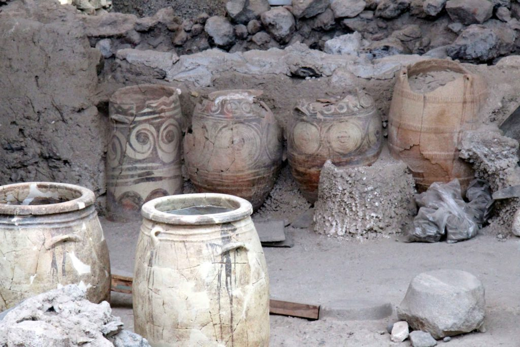 In Akrotiri Greece pottery has been uncovered.