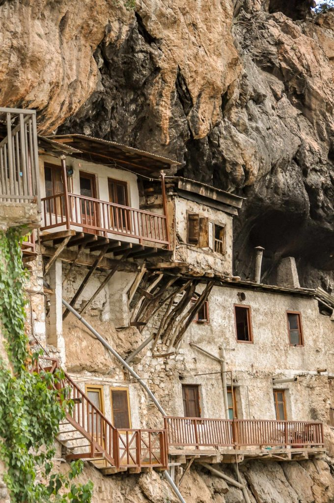 Prodromou Monastery in Lousios Gorge along the Menalon Trail. A hanging monastery in Greece.