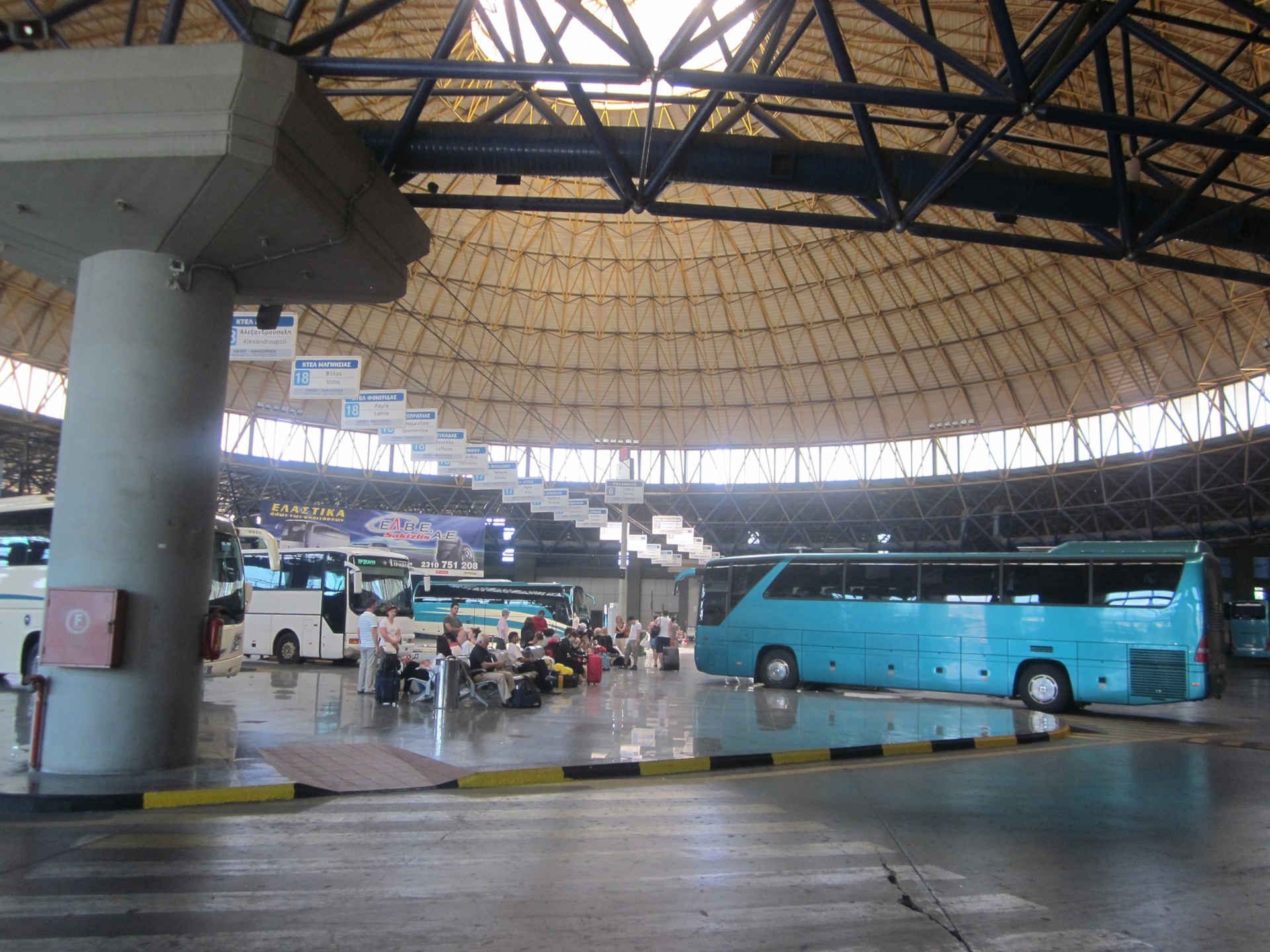 Central busstation of Thessaloniki Greece. From here buses leave to many cities in Greece. There is a very good connection to Berea Greece.