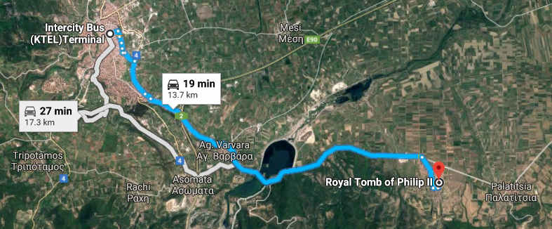 Map. Busstation Veroia to Vergina tombs.