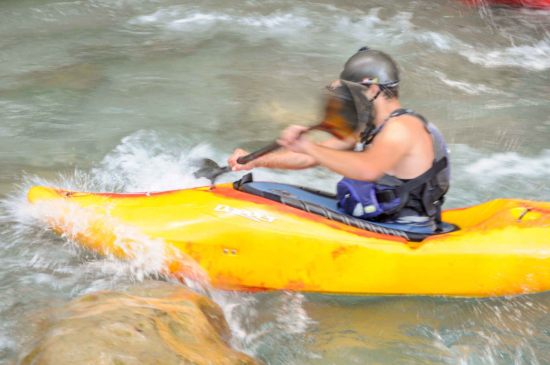 Kayaking and rafting on Lousios River in Peloponnese.