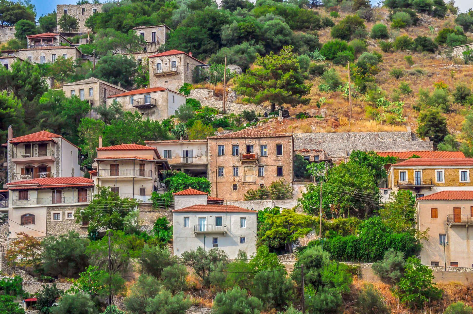 The village of Karytaina in Arcadia, Peloponnese Greece. Near Megalopoli.