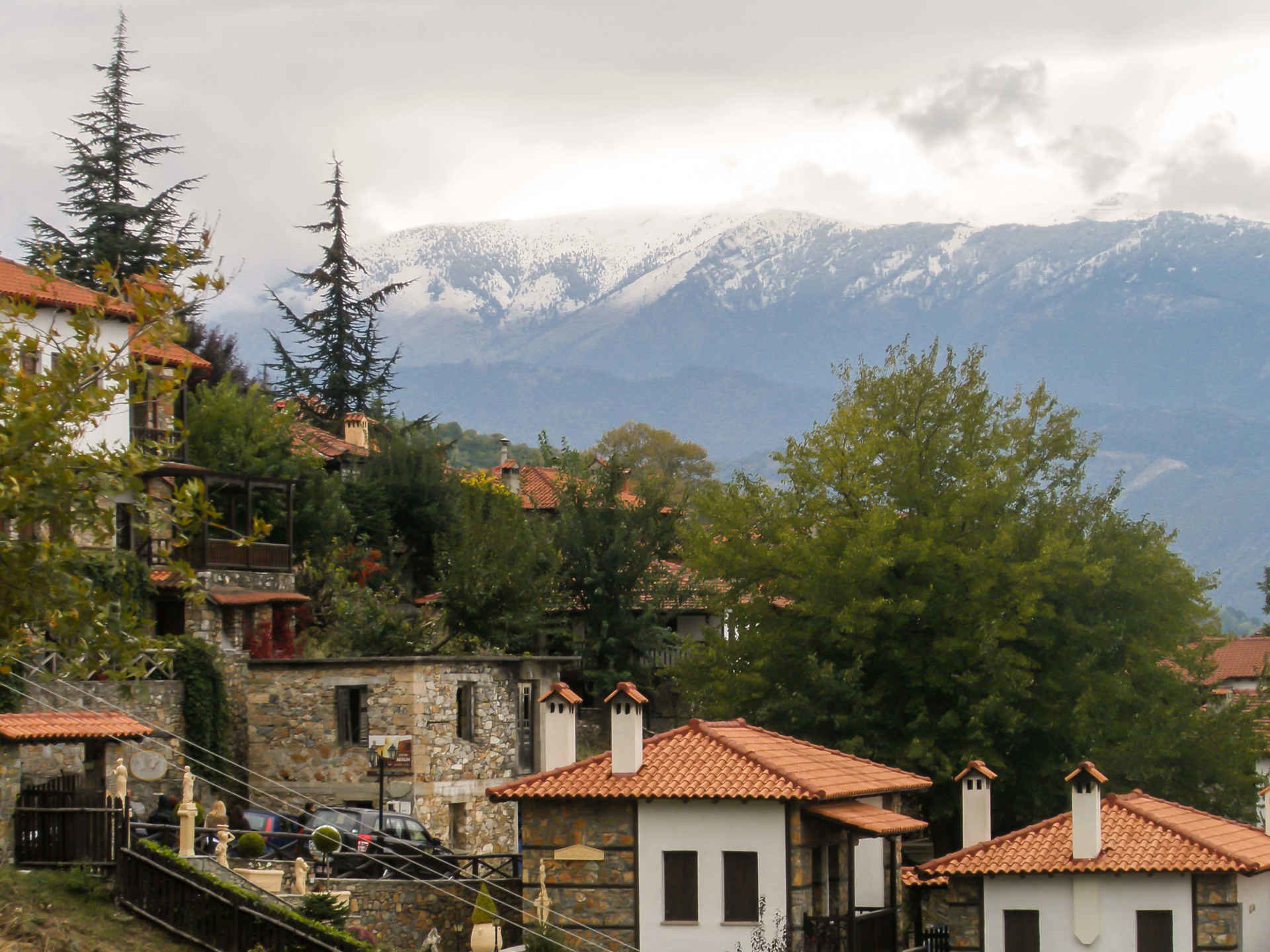 Old Panteleimonas is a beautiful village in Greece at the slopes of Mt Olympus Greece.
