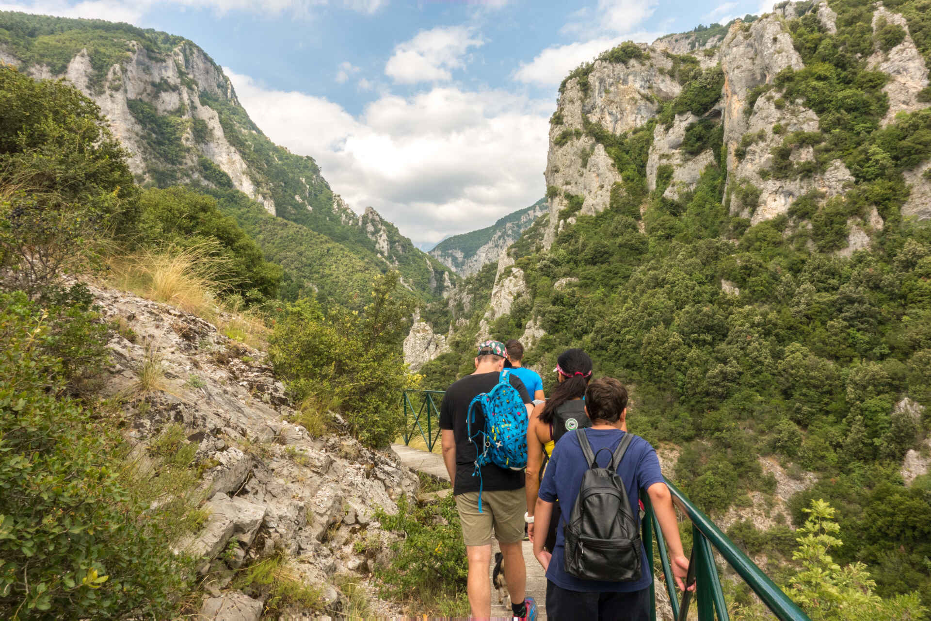 hiking in Greece through the Enipeas Canyon that starts in Litochoro.
