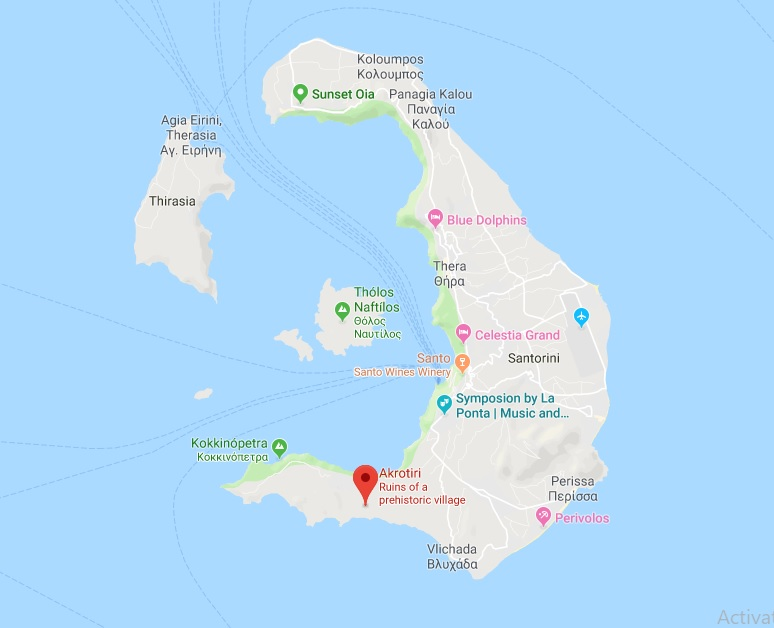 Santorini Greece map.